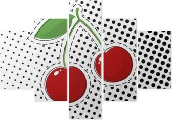 Beş Parçalı Siyah noktalar, pop art noktalı resim arka plan, iğne veya yamalar, retro tarzı, vektör çizim ile beyaz zemin üzerine kırmızı kiraz etiket