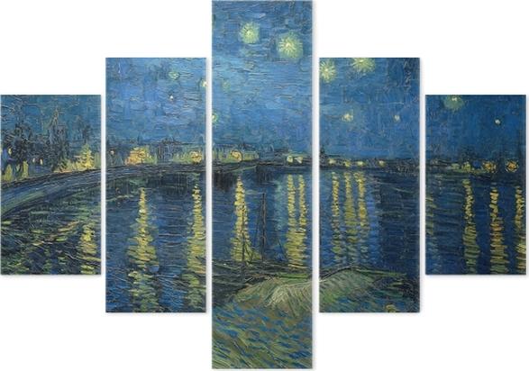 Beş Parçalı Vincent van Gogh - Rhone Üzeri Yıldızlı Gece - Reproductions