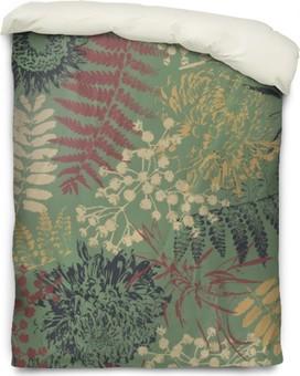Bettbezug Grunge-Blüten und Blätter