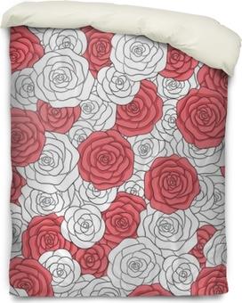 Bettbezug Hand gezeichnetes nahtloses Muster der weißen und roten Rosen des Vektors. abstrakte zarte florale Verzierung.