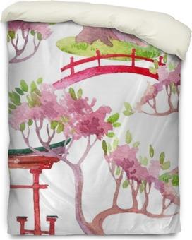Bettbezug Japanische nahtlose Muster