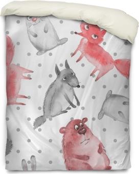 Bettbezug Nahtlose Muster mit Cartoon Waldtiere 2. Wolf, Bär, Fuchs und Hase