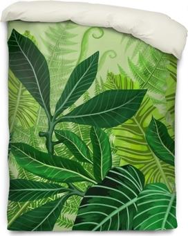 Bettbezug Nahtlose Muster mit tropischen Palmblättern