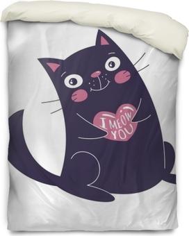 Bettbezug Nette Hand gezeichnete Katze, die Herz hält