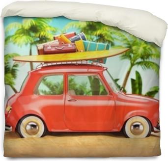 Bettbezug Sommer-Reise-Illustration