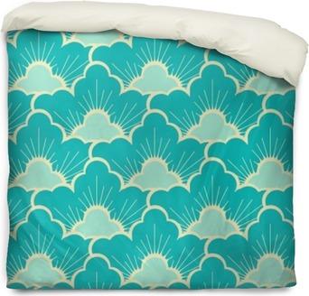 Bettbezug Stilisierten Kiefernwald Himmel blau japanischen Stil nahtlose