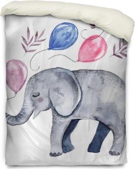 Bettbezug Süße Illustration mit Baby Elefanten und Ballons