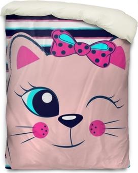 Bettbezug Süßes rosa Kätzchen mit rosa Schleife auf gestreiftem Hintergrund. mädchenhafter Druck mit Kätzchen für T-Shirt
