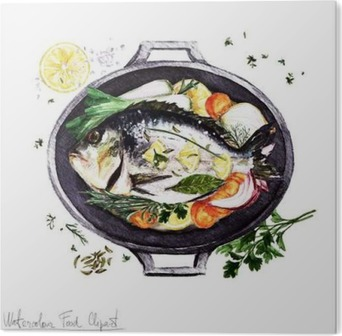 Aufkleber Aquarell Lebensmittel Clipart Fische In Einem Kochtopf