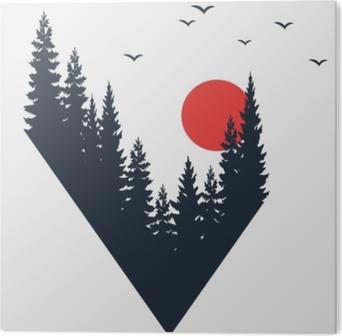 Bild auf Acrylglas Hand gezeichnetes Reiseausweis mit Tannenbäumen maserte Vektorillustration.