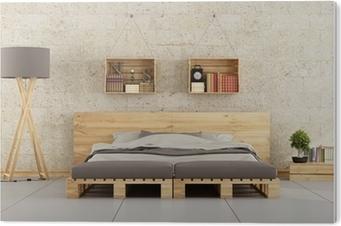 Fototapete Modernes Schlafzimmer Mit Paletten Bett Auf Mauer Pixers Wir Leben Um Zu Verandern