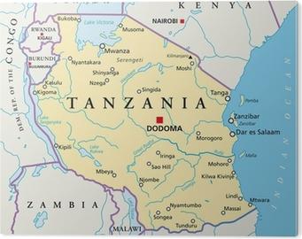 Poster Tansania Karte Tansania Landkarte Pixers Wir Leben