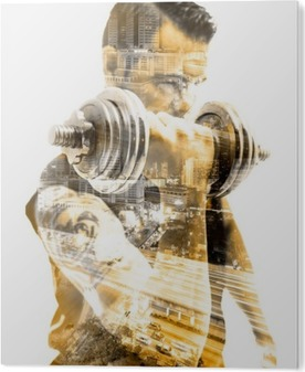 Bild auf Acrylglas Vida saludable y deporte.Gimnasia, Fitness y entrenamiento con pesas.Doble exposicion