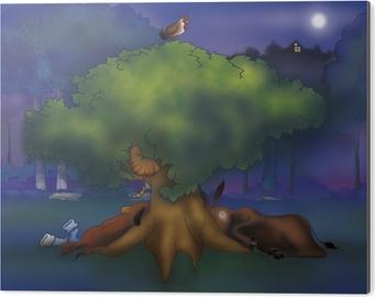 Poster Ein Esel Ein Hund Ein Hahn Und Eine Katze Unter Einem