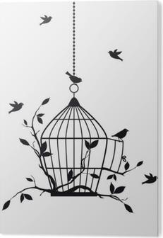Bild auf Alu-Dibond Free Vögel mit offenen Vogelkäfig, Vektor