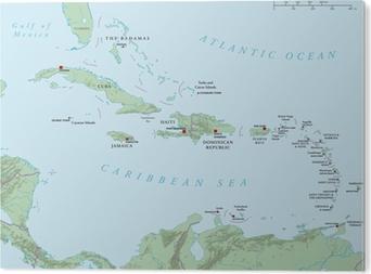 Karibik Karte Deutsch.Fototapete Karibik Große Und Kleine Antillen Politische Karte