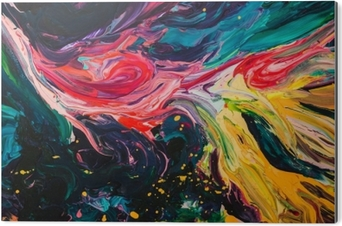 Bild auf Alu-Dibond Makroabschluß oben der unterschiedlichen Farbenölfarbe. buntes Acryl. modernes Kunstkonzept.