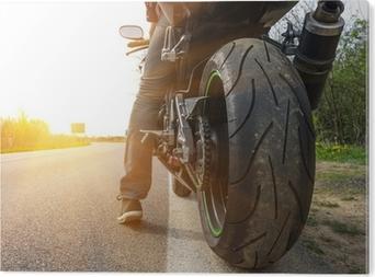 Bild auf Alu-Dibond Motorrad auf der Seite der Straße