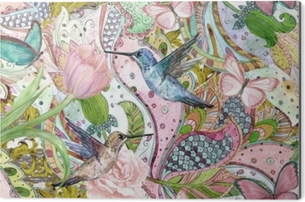 Bild auf Alu-Dibond Nahtlose Beschaffenheit der Mode mit ethnischer Blumenverzierung und Kolibris. Aquarellmalerei