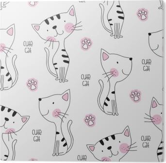 Bild auf Alu-Dibond Nahtlose niedliche Katze Muster Vektor-Illustration