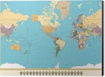 Poster Weltkarte Amerika Zentriert Und Karte Zeiger Retro Farbe