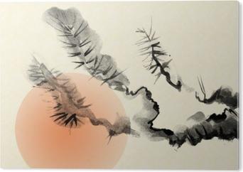 Bild auf Alu-Dibond Zweige einer alten Kiefer, die im Stil von Sumi-e gezogen.