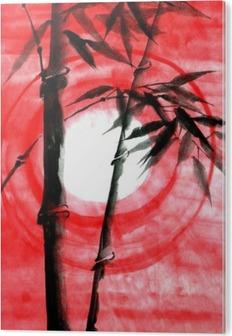 Bild auf PVC Aquarell Tinte Japanise Bambus auf Sonnenuntergang