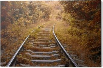 Bild auf PVC Eisenbahnstrecke im Herbst