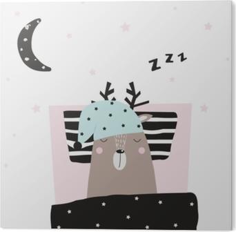 Bild auf PVC Lustiger Hirsch schlafend in seinem Bett. Vektor handgezeichnete Abbildung.