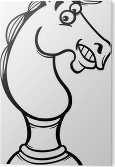 Leinwandbild Schach Pferd Cartoon Farbung Seite Pixers Wir