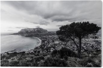 Bild auf PVC Schwarzweiss-mondello Bucht auf Sizilien, Italien