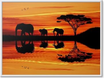 Bild i Ram Elephant silhuett i solnedgången