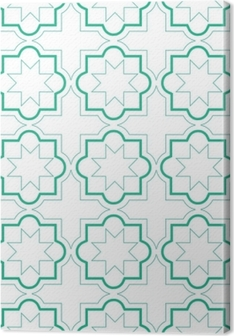 Marokkanske geometriske fliser sømløs mønster, vektor fliser design, grøn og hvid baggrund Billeder premium