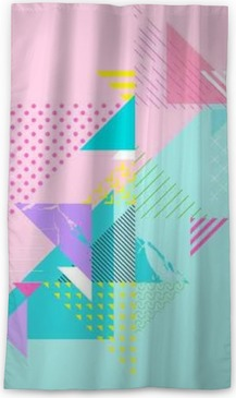 Abstract colorful geometric composition Blackout Window Curtain