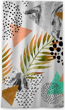 Abstract summer geometric seamless pattern Blackout Window Curtain