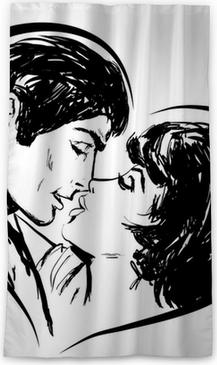 Croquis En Noir Et Blanc Couple Amoureux Baiser En Coeur