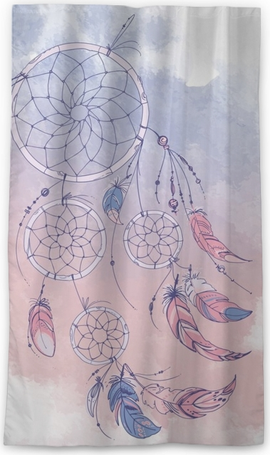 Native American Indian Dream Catcher Traditional Symbol Feathers And Beads On White Background Color Rose Quartz Serenity Blackout Window Curtain