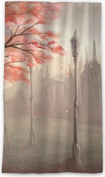 Flowering sakura tree on the background of the old town with lan Blackout Window Curtain