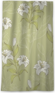 Lily flower graphic color seamless pattern sketch illustration vector Blackout Window Curtain