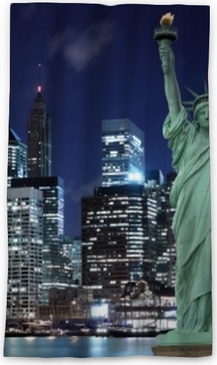 Manhattan Skyline And The Statue Of Liberty At Night New York City Canvas Print O PixersR We Live To Change