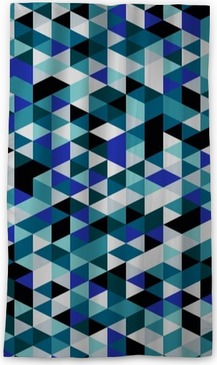 Retro style triangle pattern. Randomly colored triangles, vertical layout. Colors ocean. Abstract geometric vector background. Blackout Window Curtain