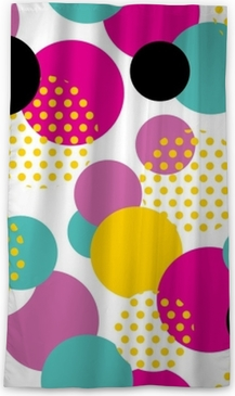 Seamless geometric pattern in retro 80s style. Pop art circle pattern on white background. Blackout Window Curtain