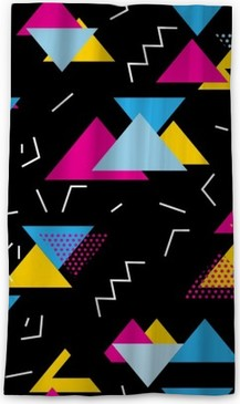 Seamless geometric pattern with magenta, blue, yellow triangles in pop art,  retro 80s style  With lines, zigzag, dot on black background