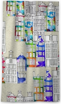 Seamless pattern eith watercolor Amsterdam houses Blackout Window Curtain