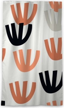 Seamless pattern with modern floral and abstract elements in fresh pastel colors. Blackout Window Curtain