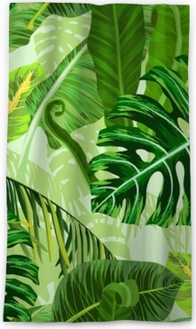 Seamless pattern with tropical palm leaves Blackout Window Curtain