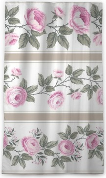 set of seamless floral borders with roses Blackout Window Curtain