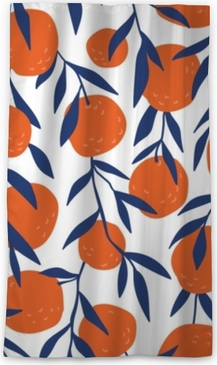 Tropical seamless pattern with red oranges. Fruit repeated background. Vector bright print for fabric or wallpaper. Blackout Window Curtain