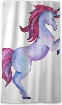 Unicorn collection. Watercolor objects Blackout Window Curtain