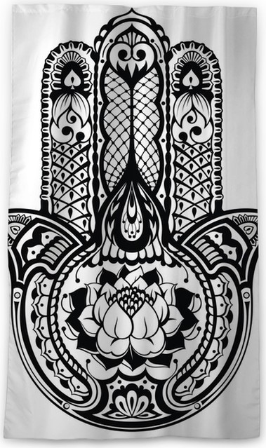 Vector Indian Hand Drawn Hamsa Symbol Blackout Window Curtain